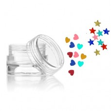 Glitter shapes- hearts and stars nail decorations, set of 8 jars, mixed colours